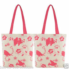 Canvas Shabby Chic Shopping Beach Bag Owl Bird Vintage Style Tote 1 Pink and 1 Blue
