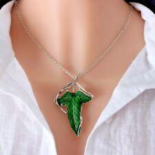 Señor De Los Anillos Hojas Verdes élfico Pin Broche Colgante Collar De Cadenas Con Reino Unido
