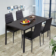 High Gloss 4-Seater Black Tempered Glass Dining Table AND Chairs Set Dinner Room
