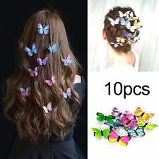 10PC Butterfly Hair Clips Hairpin Mixed Imitation 3D Festival Party That Concert