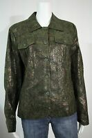 Dresssbarn Misses LARGE Green Bronze Gold Paisley LS Button Up Shirt Jacket