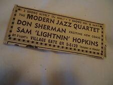 Lightnin' Hopkins - concert Village Gate New York - 1962 newsprint ad