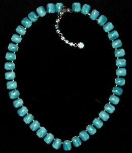 1950s light blue moonshine translucent glass panel style vintage necklace
