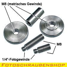 """Adaptersatz 1/4""""- M8 (Zollgewinde, Kameraschrauben, Stativgewinde)"""
