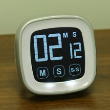 White LCD Touch Screen Kitchen Timer Magnetic Countdown Count UP Alarm Clock New