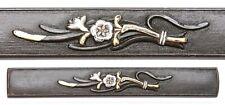 Antique Japanese Kozuka Shakudo Nanako Flowers Samurai Sword Fitting Koshirae