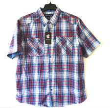 Rocawear Shirt Mens Size XL Blue White & Red Classic Fit Button Down Shirt New