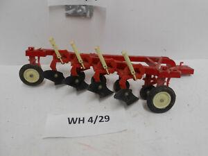 "VINTAGE ERTL 12.75"" CAST METAL IH FARM TRACTOR 4-BLADE BOTTOM PLOW TOY"