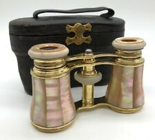 Antique French Mother of Pearl Opera Glasses & Leather Case--Pristine Condition