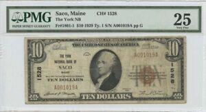 1929 $10 TY1 Saco Maine The York NB FR#1801-1 PMG 25 National CH#1528