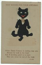 Best Wishes for Your Birthday RP PPC, 1913 PMK With Applied Felt Dancing Cat