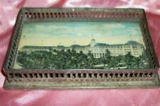 Antique Post Card Souvenir Florida Hotel 1900 Vanity Pin Dish Metal Glass Rare