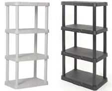 "Plastic Garage Shelving Unit, 48"" Sturdy Durable Storage Shelves, Black or White"