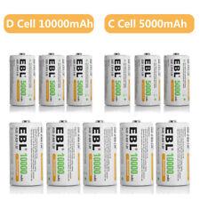 Lot of EBL C D Cell / C D Size Rechargeable Batteries 5000mAh 10000mAh 1.2V NiMh