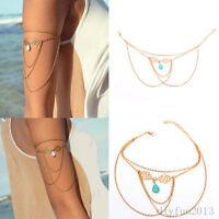 Turquoise Tassel Arm Chain Upper Cuff Armband Armlet Bracelet Bangle Fashion