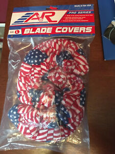 A&R Pro Series Terry Cloth Hockey Skate Blade Covers Size Large With US Flag
