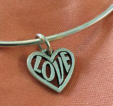 Retired James Avery Sterling Full Of Love Heart Charm Hook Bracelet *Tiny Bend*