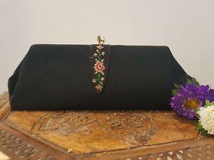 Vintage Black Tapestry Clutch/Evening Bag