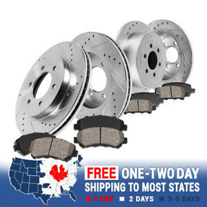 Front+Rear Drill Slot Brake Rotors And Ceramic Pads For 2006 - 2010 Hummer H3