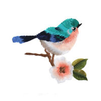 2pcs DIY Flower Craft Sewing Embroidered Sew/Iron On Applique Patch Birds YK