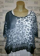 LUPA Italia: stylishes Lagenlook Shirt Überwurf Chiffon schwarz/weiss EG 46-54