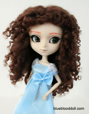 "1/3 bjd 9-10"" doll head brown real mohair curly wig Pullip Soom D28002 Ship US"
