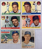 1955, 56, 57 Topps Baseball Lot of 6 Different Cards EX Condition