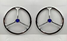 "Pair 7"" Inch Chrome Lucas Tri Bar Blue Dot 2 Headlight Covers Head Lamp Hot Rod"