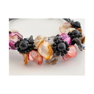 HANDMADE LEATHER CORDED BUTTON CLOSURE DYED SHELL FLORAL STATEMENT NECKLACE