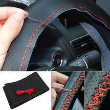 Black+Red Genuine Leather DIY Car Steering Wheel Cover W/ Needles &Thread Solid