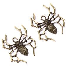 15pcs Vintage Bronze Alloy Spider Pendants Halloween Findings Accessories Lots J