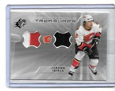 JEROME IGINLA 2001 SPx HOCKEY TREASURES DUAL 3 COLOR GAME USED JERSEYS