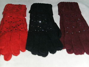 BNWT 30% Wool Mix Ladies Lace Knit Gloves with a Little Sparkle Red/Black/Wine