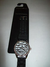 NEW NWT Fashion Bug Womens Black White Zebra Stripes Jelly Watch Adjustable $24