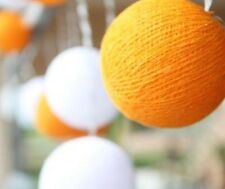 Two Tone Orange & White Cotton Ball BATTERY LED Fairy Lights 20 Light Balls