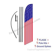 American Flag 50 Stars 15' USA Feather Banner Swooper Flag Kit with pole+spike
