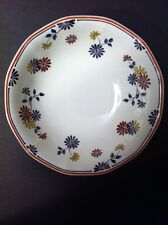 """Adams China England Blue Yellow Floral """"Vermont Red Trim"""" Coupe Cereal BOWL 6"""""""