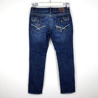 "BKE Buckle Womens Size 27 Lexi Jeans Croped Raw Hem Frayed Stretch Inseam 26"""