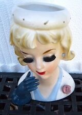 UCAGCO  LADY WHITE DERBY HAT WITH GOLD FLAKES NAVY GLOVE HEAD VASE HEADVASE