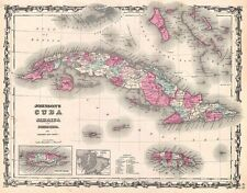 Map of Cuba and Porto Rico 1862 Vintage Caribbean Map Giclee Canvas Print 28x22