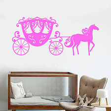 Vinyl Wall Decal Carriage Girl Room Fairy Tale Nursery Stickers (ig3868)
