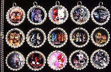 15 Five Nights at Freddy's Silver Flat Bottle Cap Necklaces Set 1