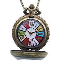 New Antique Style Vintage Bronze Pendant Pocket Quartz Watch Chain Necklace Gift