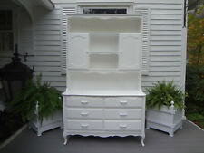 Vtg 2pc Pottery Barn White Cabinet Hutch Dresser Bureau Chest Drawers Sideboard