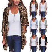 Women Vintage Print Chiffon Loose Shawl Kimono Cardigan Cover Up Shirt Blouse LY