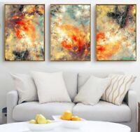 Yellow Orange Abstract Art 3 PCS Canvas Printed Wall Art Poster Home Decor