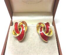 Vintage Jewellery Lovely Red Enamel Knot 1980's Clip On Earrings