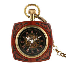 Antique Hand Winding Mechanical Skeleton Men Women Pocket Watch Wood Square Case