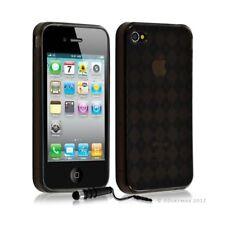 Housse étui coque en gel pour Apple Iphone 4/4S motif damier couleur noir + Styl