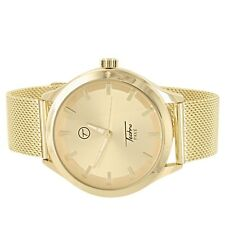Gold Tone Watch Mesh Bracelet Techno Pave Water Resistant Analog Round Face New